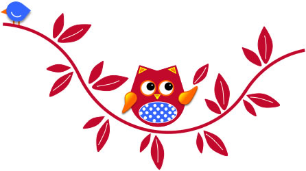 Owl on branch (The Laboratory for Developmental Language Studies logo)